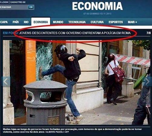 Manchete: Jovens descontentes com governo enfrentam a polícia em Roma